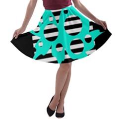Cyan abstract design A-line Skater Skirt