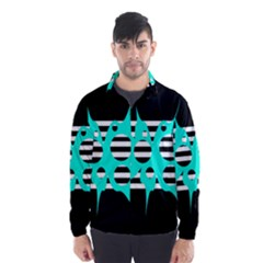 Cyan abstract design Wind Breaker (Men)