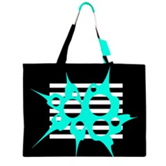 Cyan abstract design Large Tote Bag