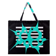 Cyan abstract design Zipper Large Tote Bag