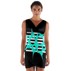 Cyan abstract design Wrap Front Bodycon Dress