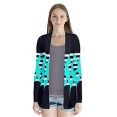 Cyan abstract design Drape Collar Cardigan