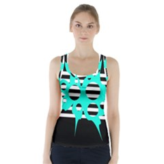 Cyan abstract design Racer Back Sports Top