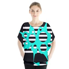 Cyan abstract design Blouse