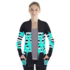 Cyan abstract design Women s Open Front Pockets Cardigan(P194)
