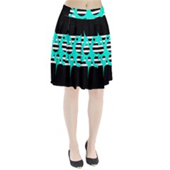Cyan Abstract Design Pleated Skirt
