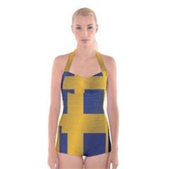 Flag Of Sweden Boyleg Halter Swimsuit