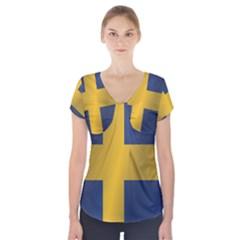 Flag Of Sweden Short Sleeve Front Detail Top