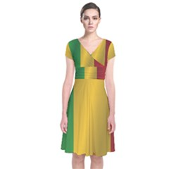 Flag Of Mali Short Sleeve Front Wrap Dress