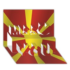 Flag Of Macedonia Miss You 3D Greeting Card (7x5)