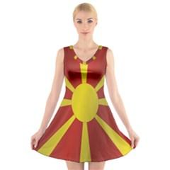Flag Of Macedonia V-Neck Sleeveless Skater Dress