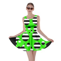 Green abstract design Skater Dress
