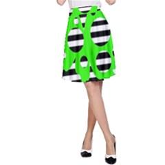 Green abstract design A-Line Skirt