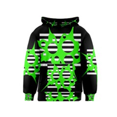 Green abstract design Kids  Pullover Hoodie