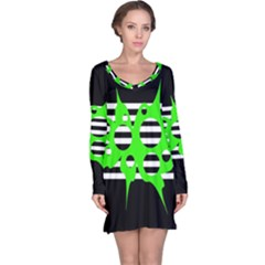 Green abstract design Long Sleeve Nightdress