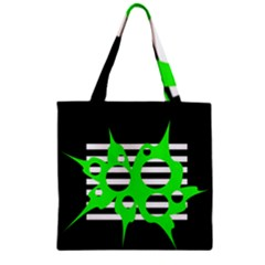 Green abstract design Zipper Grocery Tote Bag