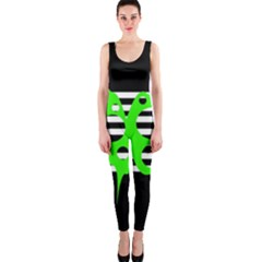 Green abstract design OnePiece Catsuit