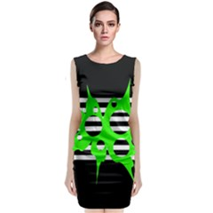 Green abstract design Classic Sleeveless Midi Dress