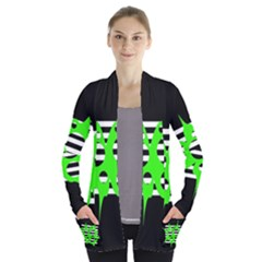 Green abstract design Women s Open Front Pockets Cardigan(P194)