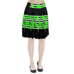 Green abstract design Pleated Skirt