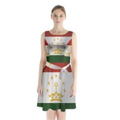 Flag Of Tajikistan Sleeveless Waist Tie Dress