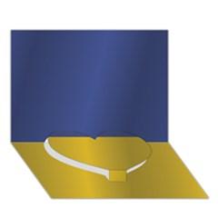 Flag Of Ukraine Heart Bottom 3D Greeting Card (7x5)