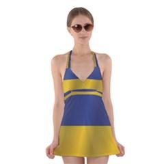 Flag Of Ukraine Halter Swimsuit Dress