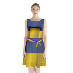 Flag Of Ukraine Sleeveless Waist Tie Dress