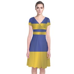 Flag Of Ukraine Short Sleeve Front Wrap Dress