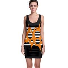 Orange abstract design Sleeveless Bodycon Dress