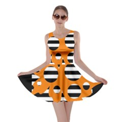 Orange abstract design Skater Dress