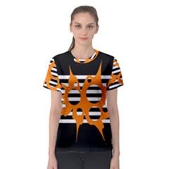 Orange abstract design Women s Sport Mesh Tee