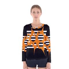 Orange abstract design Women s Long Sleeve Tee