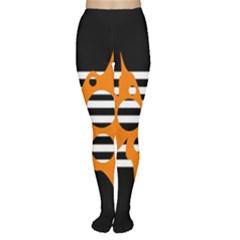 Orange abstract design Women s Tights