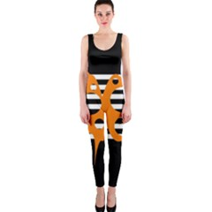 Orange abstract design OnePiece Catsuit