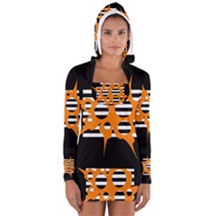 Orange abstract design Women s Long Sleeve Hooded T-shirt