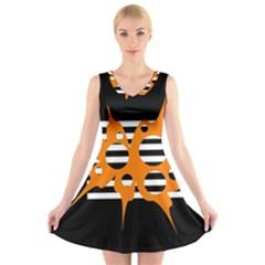 Orange abstract design V-Neck Sleeveless Skater Dress