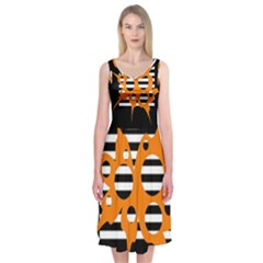 Orange abstract design Midi Sleeveless Dress
