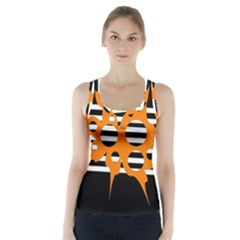 Orange Abstract Design Racer Back Sports Top