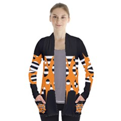 Orange abstract design Women s Open Front Pockets Cardigan(P194)