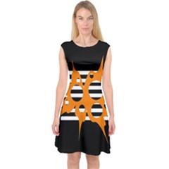 Orange Abstract Design Capsleeve Midi Dress