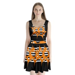 Orange abstract design Split Back Mini Dress