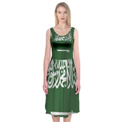 Flag Of Saudi Arabia Midi Sleeveless Dress