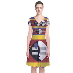 Flag Of Swaziland Short Sleeve Front Wrap Dress