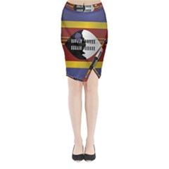 Flag Of Swaziland Midi Wrap Pencil Skirt