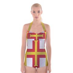 Flag Of Guernsey Boyleg Halter Swimsuit