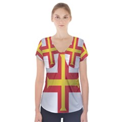 Flag Of Guernsey Short Sleeve Front Detail Top