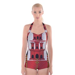 Flag Of Gibraltar Boyleg Halter Swimsuit