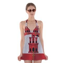 Flag Of Gibraltar Halter Swimsuit Dress