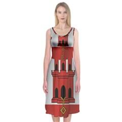 Flag Of Gibraltar Midi Sleeveless Dress